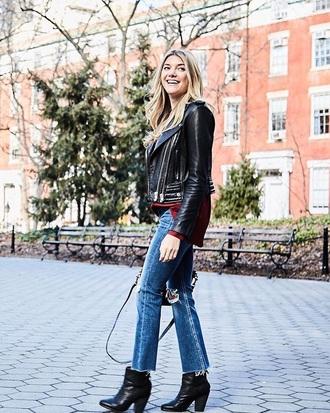 jacket black jacket black leather jacket boots black boots leather jacket ankle boots blue jeans denim jeans