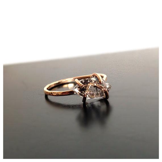 Herkimer Diamond Engagement Ring Gemstone Ring by camilaestrella