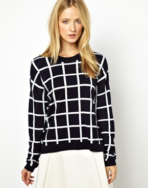 Whistles | Whistles Lucia Knit Jumper in Check Jacquard at ASOS