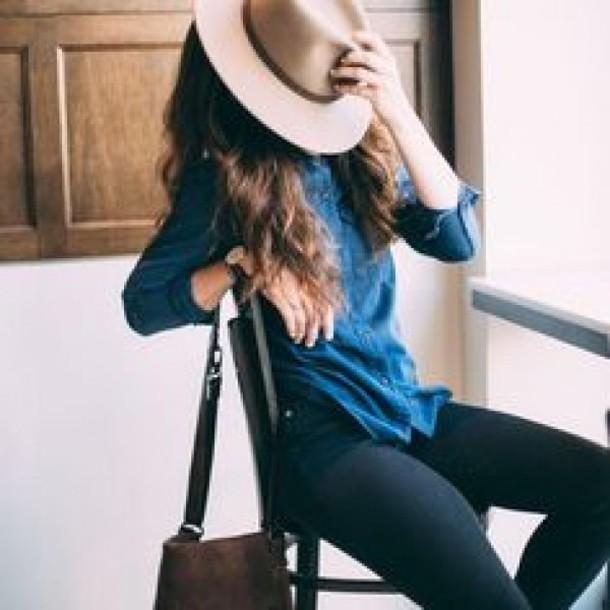 shirt denim shirt jeans black jeans fedora hat