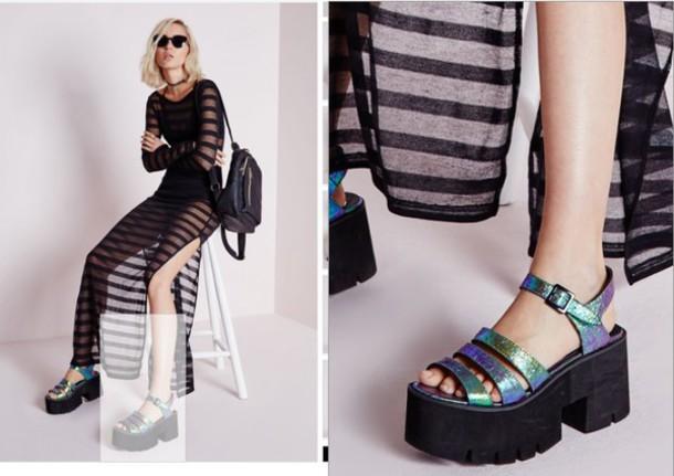 shoes, holographic, flatforms, sandals
