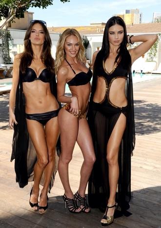 swimwear alessandra ambrosio adriana lima candice swanepoel bikini black gold monokini