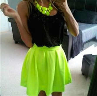 tank top black skater fluro neon necklace green party skirt skater skirt neon skirt jewels