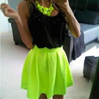 tank top black skater fluo neon necklace green party skirt skater skirt neon skirt jewels