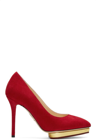 heels suede red shoes
