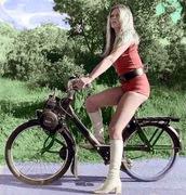romper,red,moped,velosolex,solex,vintage,brigitte bardot