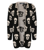 Nicole multi skulls open cardigan in black