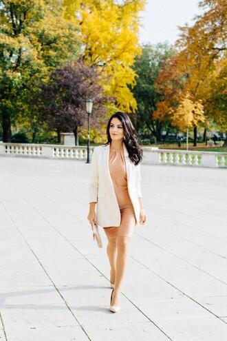 disicouture blogger nude dress blazer