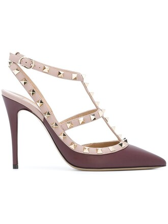 women pumps leather purple pink shoes