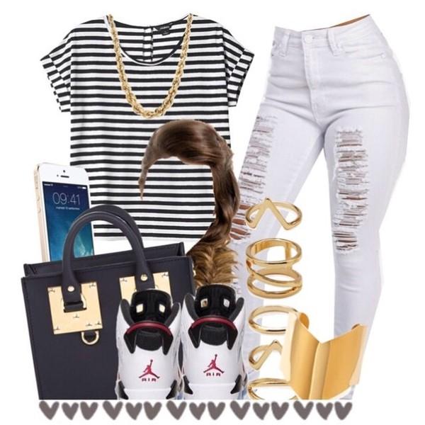 jeans stripes light blue black and white