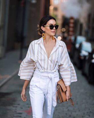 shirt tumblr stripes striped shirt pants white pants sunglasses earrings bag