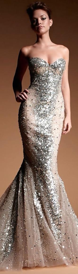prom dress mermaid dress champagne dress beaded