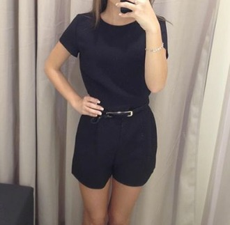 romper combi combinaison combi short combinaison short noire beautiful classy pretty ceinture bracelets fashion mode glamour like summer fall outfits combinaison noire