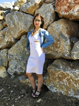 denim jacket white dress cut-out dress black heels