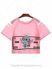 top,pink blouse,richman print,pink tank top,pink t-shirt,dollar,cut-out dress,pink,cute dress