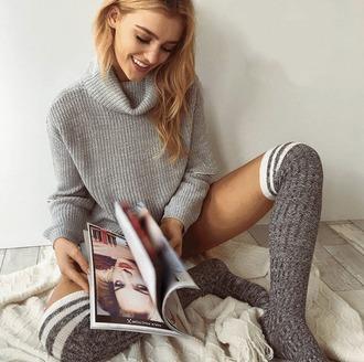 sweater girl girly girly wishlist grey grey sweater knit knitwear knitted sweater turtleneck turtleneck sweater