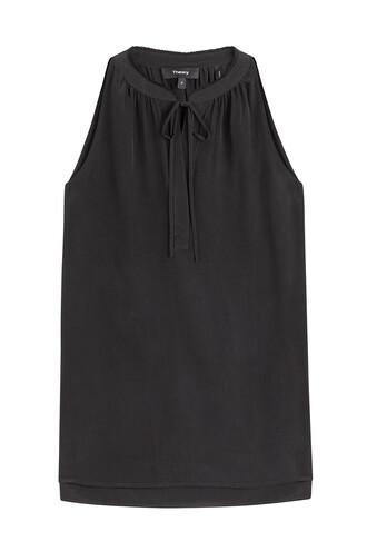 top tie front silk black