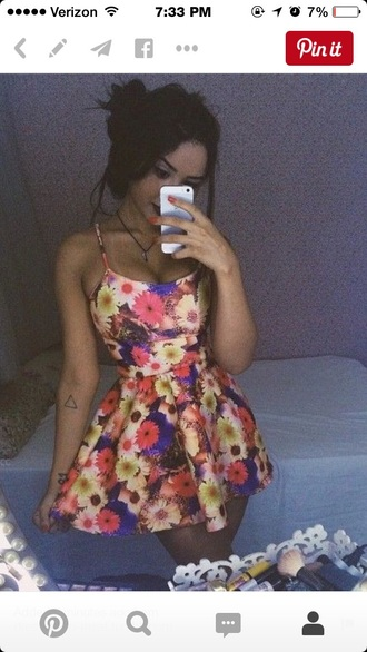 dress floral floral dress short dress flowers