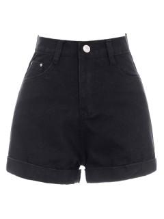 Jersey, leather & denim shorts