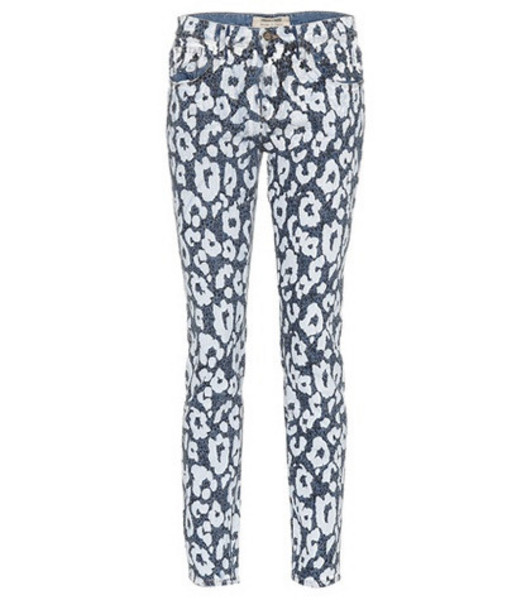 Roberto Cavalli Leopard-printed jeans in blue