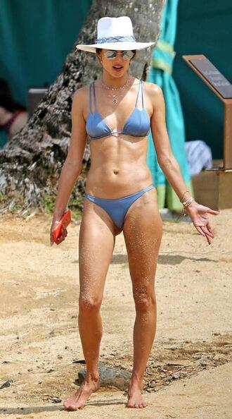 swimwear bikini bikini top bikini bottoms alessandra ambrosio model off-duty beach summer hat