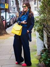 fashion foie gras,blogger,yellow bag,wide-leg pants,blazer,denim shirt,shoes,jewels,pants,shirt,sweater,jacket,bag