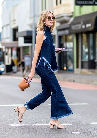 shoes block heel sandals sandals mid heel sandals nude sandals frayed denim flare jeans blue jeans frayed top denim top blue top bag camel bag sunglasses streetstyle all denim outfit