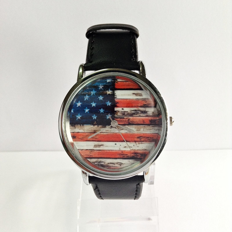 American Flag on Wood Watch, Vintage Style Watch, US Flag, Leather Watch, Women's watch, Men's Watch, Silver case