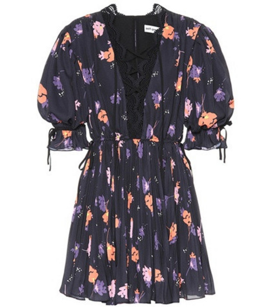 Self-Portrait Exclusive to mytheresa.com – Floral-printed crêpe minidress in black