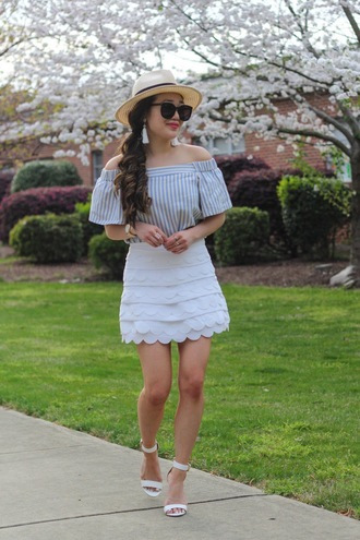 gracefullee made blogger top jewels skirt sunglasses shoes hat
