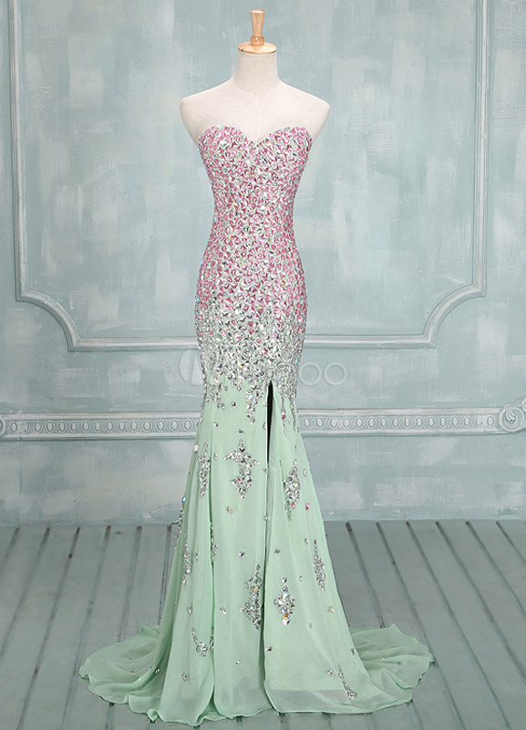 Fashion Sage Sweetheart Neck Sequin Mermaid Chiffon Prom Dress  - Milanoo.com