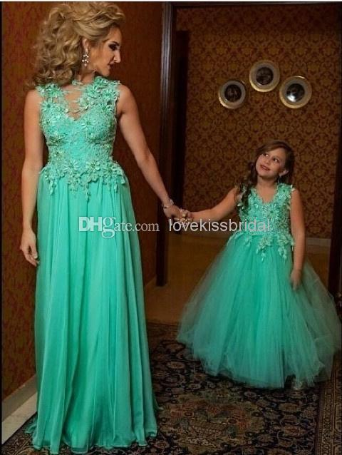 Wholesale Bridesmaid Dress - Buy 2015 Mint Green Tulle Bridesmaid Dresses Sheer Jewel Neck Applique Flowers Long Wedding Prom Gowns Little Girl Dress Parent-child Outfit, $113.09 | DHgate