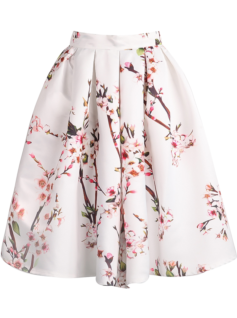 White Floral Pleated Skirt - Sheinside.com
