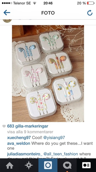 earphones shoes floral chevron blue and white flowers apple iphone ear buds earbuds colorful mic microphone headset