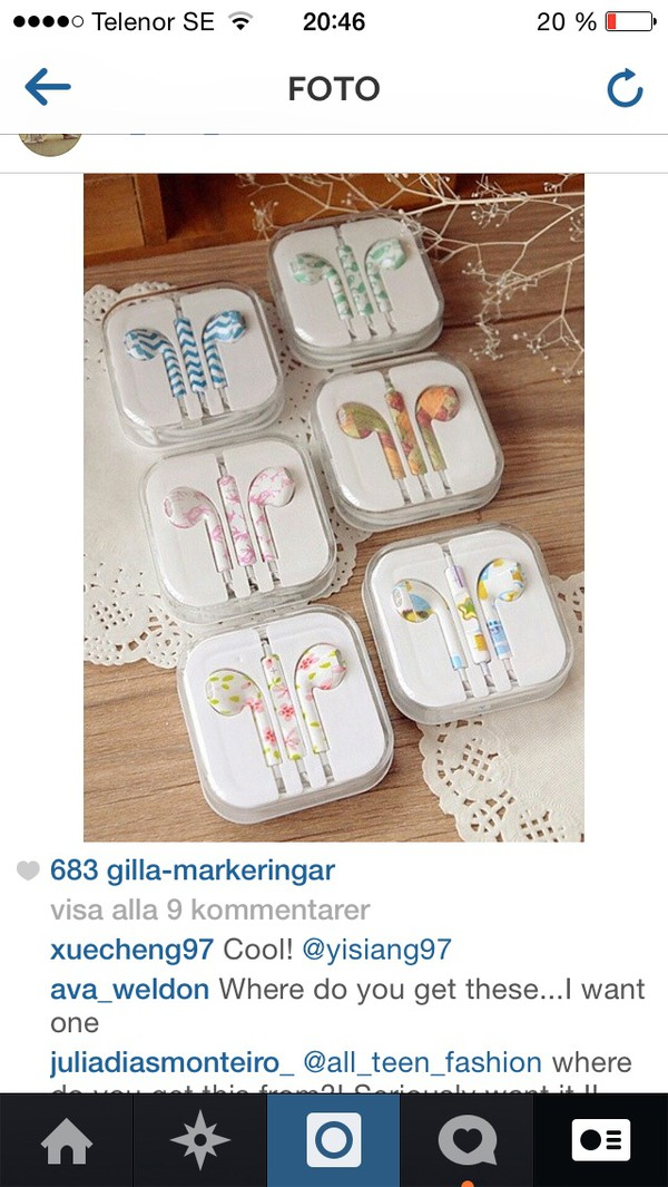 earphones shoes floral chevron chevron blue and white flowers apple iphone ear buds earbuds colorful mic microphone headset