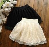 skirt,white,lace,dolly skater dress,black skirt,white skirt,black,cream,puffy,fashion,style,kawaii,cute,tulle skirt,feminine