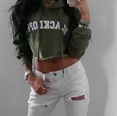 sweater,olive green,khaki,crop tops,crop,cropped,cropped sweater,cropped hoodie,hoodie,tumblr,white