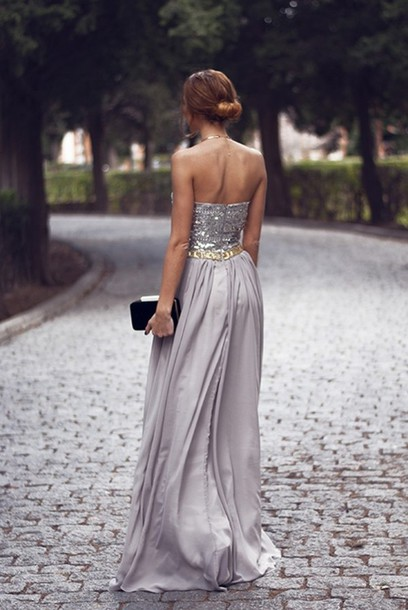 dress gown sequins grey gold silver glitter sparkle