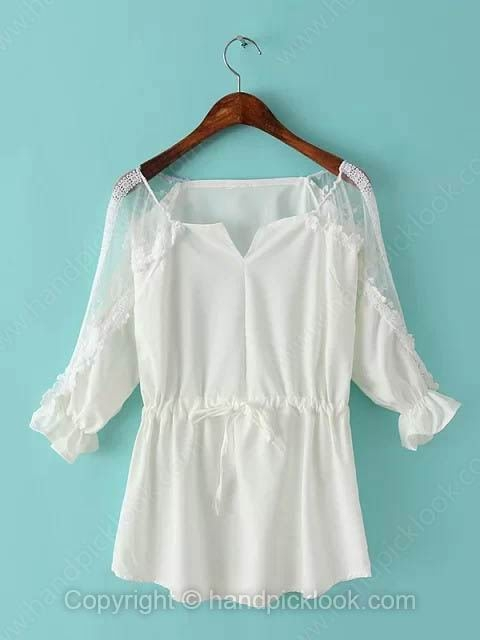 White Three Quarter Length Sleeve Sashes Blouse - HandpickLook.com