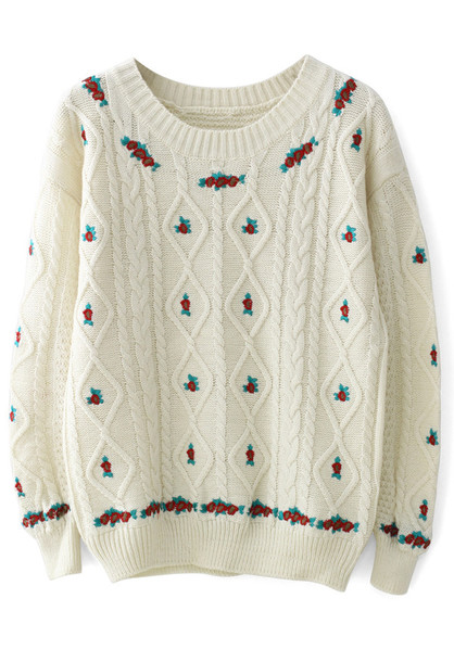 sweater floral embroidered cable knit ivory