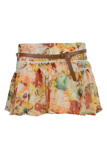 Ladies Kleng Floral Culottes with Belt in Yellow | Pop Couture