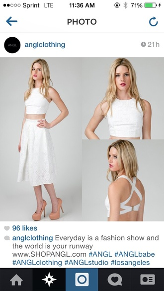 top crop tops white textured strappy classy chic skirt