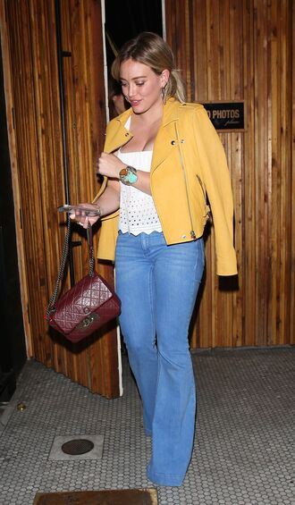 top jeans flare jeans hilary duff jacket purse spring outfits