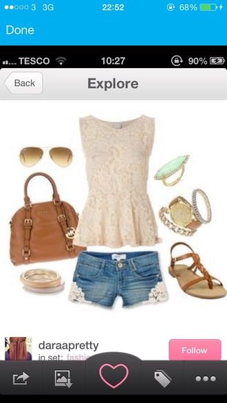 shorts blue jewels bag tank top shoes denim flowers