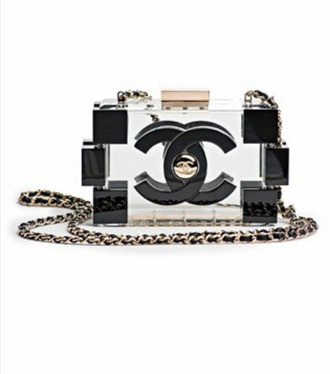 bag chanel black and gold clear