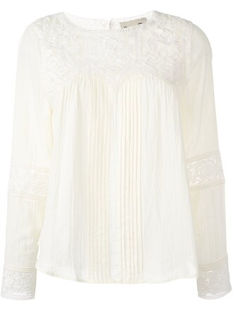 blouse embroidered nude top