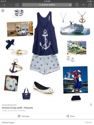 tank top anchor blue top denim shorts