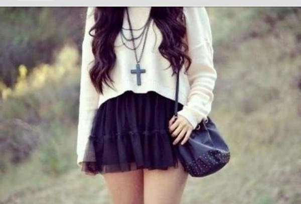 skirt white sweater indie hipster cross necklace over the shoulder purse
