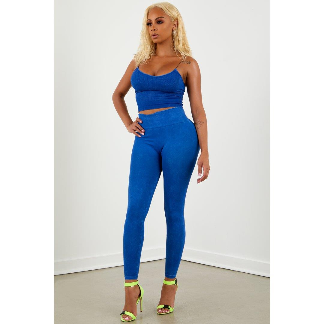 Royal Blue Washed Legging Set