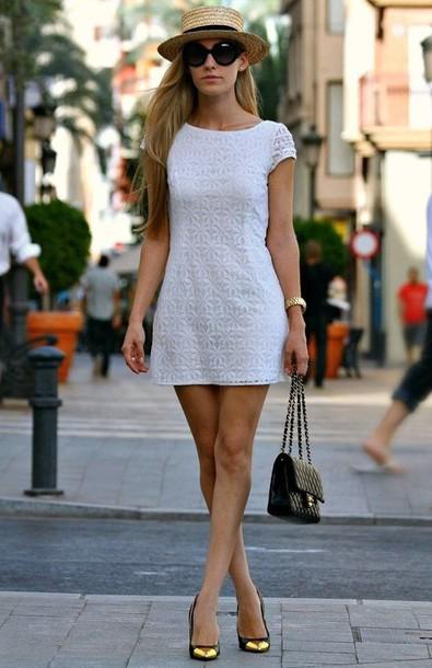 dress fedora hat white floral navy